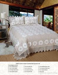 100 cotton crochet classic bed spread luxury handmade bedding set duvet cover pillowcase set beige american style bedcover bed clothes duvet clearance
