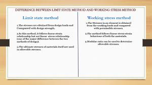 Working Stress Method Of Rcc Design Diffrence Between Limit State Method And Working Stress