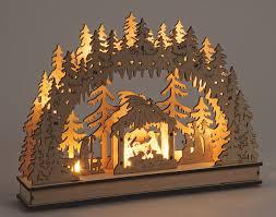 Schwibbogen 3d Lichterbogen Krippe Wald Led Beleuchtung Weihnachtsdeko 35x26 Cm