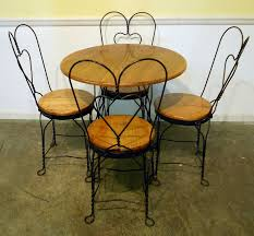 3760 809 Oak Iron Ice Cream Table And 4 Chairs Jpg 1 618 1 500 Ice Cream Parlor Chairs And Table