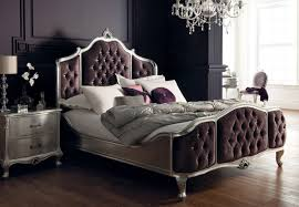 5 Bed Silver Antique With Upholstered Panels And Swarovski Crystal  Buttons[1]