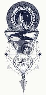 Fototapeta Hory Kompas šíp Tetování Dobrodružství Cestování Venku