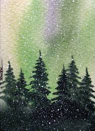 this is an original water color painting of a pine tree forest illuminated by the dancing lights of the northern lights this painting includes a