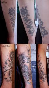 восточный карп Koi Fish татуировка на руке перекрытие шрамов и