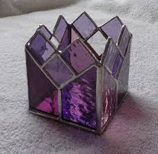 custom made purple and rose stained glass candle holder