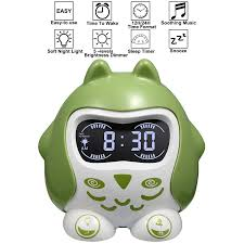 Toddler Clock Green Light Alarm Clock For Kids Toddler Childrens Sleep Trainer And Wake Up Clock With Sleep Sounds Lullaby 7 Color Night Light Nap Timer Plug In Battery