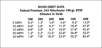 Windage Chart Determining Wind Values And Making Your Shots
