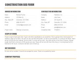 Bid Form For Construction Construction Bid Form Templates Construction In 2019 Resume