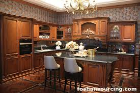 solid cherry wood classic customized kitchen cabinet