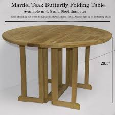 mardel teak erfly round folding outdoor table