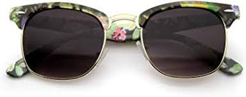 Women's Floral Printed Square Half Frame Horn ... - Amazon.com