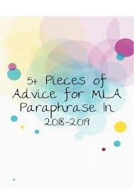 Mla Cover Page 2019 5 Pieces Of Advice For Mla Paraphrase In 2018 2019 By Paraphrasing