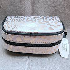 victoria s secret gold leopard makeup bag vs cosmetic bag