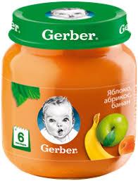 Детское питание <b>пюре GERBER фруктовое</b> яблоко/абрикос ...