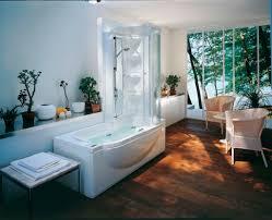 Bathroom  Interior Bathroom White Acrylic Surround Tub Beaside Bath Shower Combo Faucet