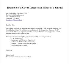 Cover Letter To Journal Editor Template Cover Letter Journal