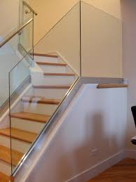 glass railing with stainless steel base