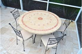 48 60 outdoor garden patio round mosaic marble dining 48 inch round patio table cover with umbrella hole