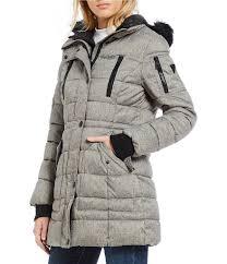 guess faux fur hooded puffer coat