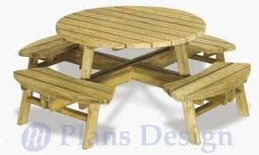 traditional round picnic table with benches out door furniture plans odf04 753182758862
