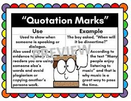 Quotation Marks Anchor Chart Quotation Marks Anchor Chart