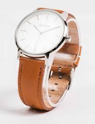 nixon porter leather watch white sunray saddle