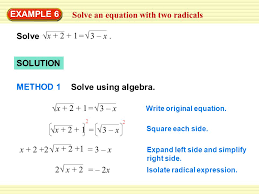 3 solve an equation with two radicals