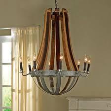 wine barrel lighting. Reclaimed Wine Barrel Stave Chandelier Lighting