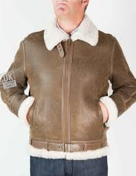 mens finest shearling flying jacket antique brown cream wool front