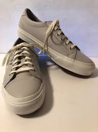 new women s vans leather sneaker tennis shoes laces light gray size 7 5 7 1 2