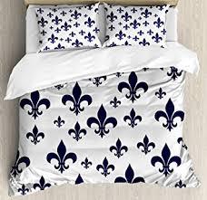 bedding with fleur de lis pattern. Exellent Bedding Navy Blue Decor Duvet Cover Set By Ambesonne Various Sized Classic Fleur  De Lis Patterns Inside Bedding With De Pattern S