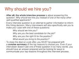 why should we hire you interview question job interview questions ppt download
