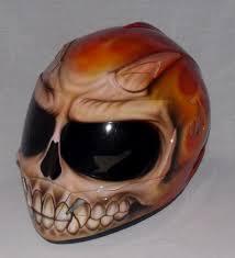 custom painted airbrushed flaming red skull motorcycle helmet full