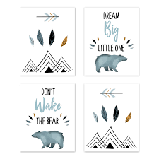 slate blue and white wall art prints room decor for baby nursery and kids for bear mountain watercolor collection by sweet jojo designs