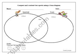 Venn Diagram Printable Worksheets Compare And Contrast Sports Venn Diagram Esl Worksheet By