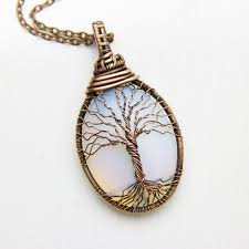 tree of life necklace copper wire wrapped jewelry opalite tree of life wire wrapped pendant wire tree pendant