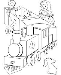 Landscape with a train on a curve. Free Printable Train Coloring Pages For Kids