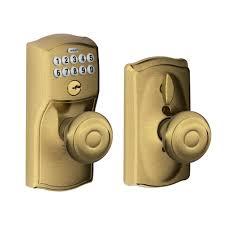 schlage georgian antique brass keypad electronic door knob with camelot trim featuring flex lock antique looking door knobs t56 door