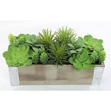 office planter. Artificial Desktop Potted Mixed Succulents Plants With Rectangular Wood Planter, Green For Home Office Decor Planter T