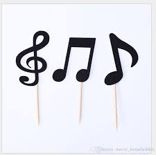 Multiple Colors Music Notes Themed Cupcake Topper Paper Cake Inserts Card Wedding Cake Topper Decoration Musical Note Birthday Party Gifts Anniversary