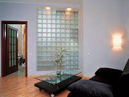 ... Interior wall built with clear glass bricks ...