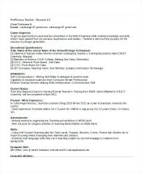 Sample Teacher Resume Indian Schools Format For Primary School