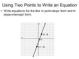 using two points to write an equation write equations for the line in point slope