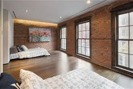 exposed brick wall ideas for charming bedroom interior design with modern recessed lighting