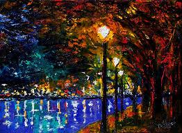 landscape night lights trees art painting impressionist paintings by debra hurd