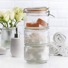 kilner stackable storage jar set 17 5 x 17 5 x 32 cm clear glass stacking
