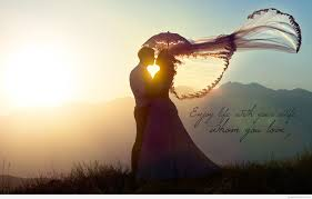 enjoy life quote with a love couple wallpaper