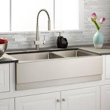 36 piers 60 40 offset double bowl stainless steel farmhouse sink rh signaturehardware com vigo farmhouse stainless steel kitchen sink faucet and dispenser