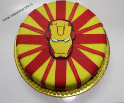 Iron Man Theme Customized Eggless Small Designer Birthday Cake