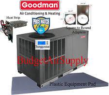 goodman r22 heat pump. 4 ton 14 seer goodman heat pump package unit gph1448h41+pad+adapters+heat r22 heat pump